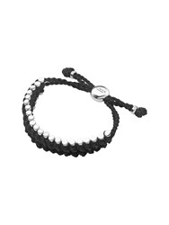 Links Of London Friendship Mens Black Cord Rope Bracelet Silver