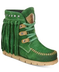 Mojo Moxy Neverland Fringe Wedge Booties Women's Shoes Green