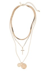 Topshop Layered Cross Pendant Necklace Gold