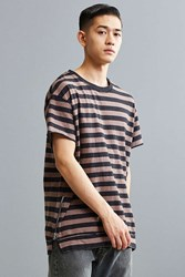 Urban Outfitters Uo Rooney Striped Side Zip Tee Black And White