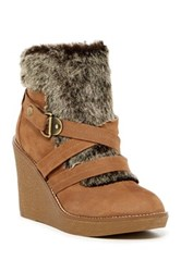 Fergie Omega Faux Fur Wedge Boot Beige