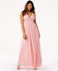 Jump Juniors' Lace And Glitter Tulle Gown Blush