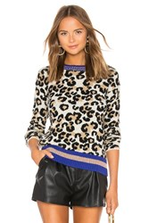 Central Park West Leopard Lurex Crew Beige