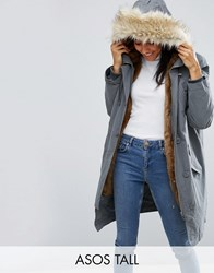 Asos Tall Parka With Ma1 Styling And Removable Fur Liner Khaki Green