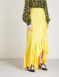Attico Ruffled Satin Jaquard Maxi Skirt Yellow