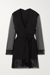 Eberjey Iona Love Me Lace Trimmed Point D'esprit Tulle And Stretch Modal Robe Black