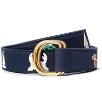 Thom Browne 3Cm Leather Trimmed Embroidered Cotton Belt Navy