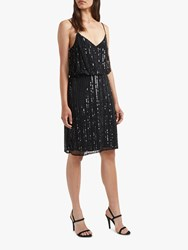 French Connection Aster Embroidered Sequin Detail Dress Black