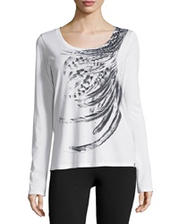 Marc Ny Performance Feather Print Long Sleeve Tee White