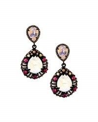 Bavna Moonstone Diamond And Composite Ruby Teardrop Earrings