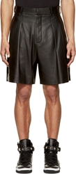 Givenchy Black Lamb Leather Pleated Shorts
