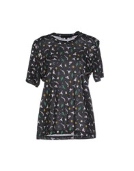American Retro Topwear T Shirts Women Black