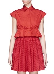 Azzedine Alaia 'Ecarlate' Drawstring Cotton Poplin Cropped Shirt Red