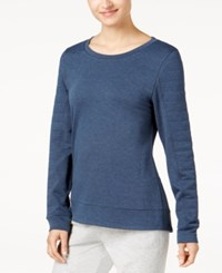 32 Degrees Quilted Fleece Top Heather Bella Blue