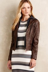 Anthropologie Hooded Leather Moto Jacket Brown