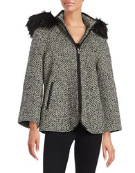 Betsey Johnson Faux Fur Trimmed Chevron Coat Black White