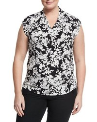 Vince Camuto Modern Confetti Fitted Top Black