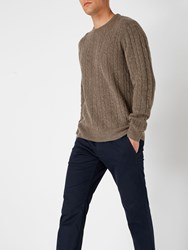 Howick Men's Andover Cable Crew Neck Mink