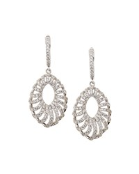 Fantasia Pave Cz Crystal Open Marquise Drop Earrings Women's