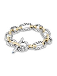 David Yurman Cushion Link Bracelet With Blue Sapphires And 18K Gold Silver Gold
