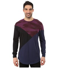 Puma Cut Line Long Sleeve Top Italian Plum Peacoat Black Men's Long Sleeve Pullover Multi