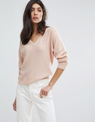 Jaeger Wool Cashmere V Neck Batwing Sweater Pink