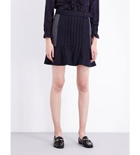 Claudie Pierlot Switch Wool Blend Mini Skirt Marine