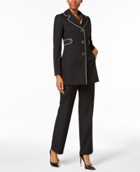 Le Suit Piped Three Button Pantsuit Black Vanilla