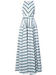 Lela Rose Capitol Xx Collection Striped Maxi Dress Blue