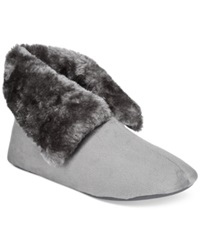 Charter Club Microvelour Bootie Slipper With Memory Foam Only At Macy's Dark Grey
