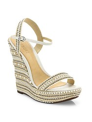 Schutz Carminda Leather Trimmed Platform Wedge Sandals White