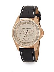 Ted Baker Rose Goldtone Chronograph Stainless Steel Leather Strap Watch No Color