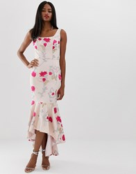 Chi Chi London Floral Embroidered High Low Dress With Square Neck In Neon Floral Multi