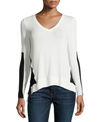 Red Haute Colorblock Pullover Sweater Ivory Black