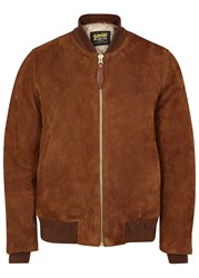 Schott Nyc Lz6 Two Tone Suede Bomber Jacket Brown