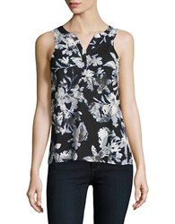Lord And Taylor Petite Floral Sleeveless Top Black