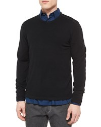 John Varvatos Leather Trimmed Crewneck Sweater Black