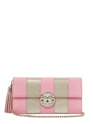 Metrocity Striped Leather Clutch