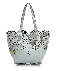 Marc Jacobs Wingman Laser Cut Embellished Patent Leather Tote Frost