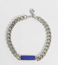 Reclaimed Vintage Inspired Chain Necklace With Blue Stone Silver