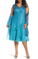 Komarov Plus Size Women's Tiered Chiffon Shift Dress With Shawl Marine Night Ombre