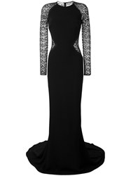 Stella Mccartney Lace Panel Gown Women Silk Cotton Polyester Viscose 40 Black