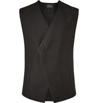 Kilgour Black Satin Trimmed Asymmetric Mohair And Wool Blend Waistcoat