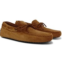 Tod's Gommino Suede Driving Shoes Tan