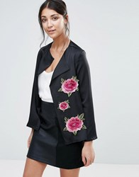Jessica Wright Jacket With Floral Embroidery Black