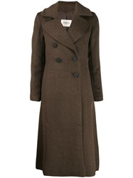 Jovonna Long Double Breasted Coat Brown