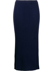 Allude Ribbed Knit Midi Skirt Blue