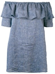 Roberto Collina Chambray Ruffled Off The Shoulder Top Women Linen Flax L Blue