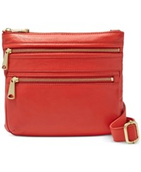 Fossil Explorer Leather Crossbody Real Red