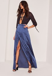 Missguided Blue Satin Split Front Wrap Maxi Skirt Navy
